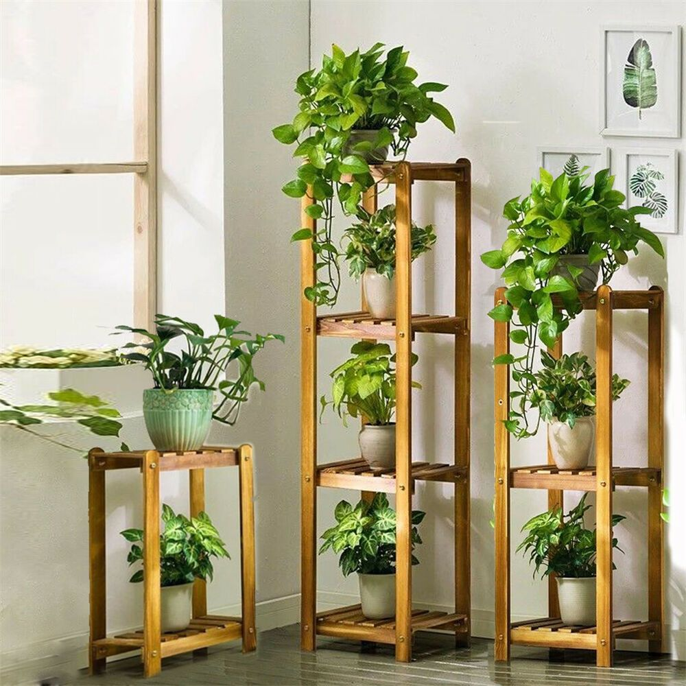 3 Sets Bamboo Wooden Shelves Plant Stand Square Rack Indoor Outdoor 2 3 4 Tiers Plant Stand Plant Stand Indoor Wooden Plant Stands