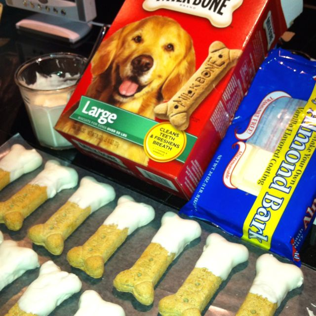 Vanilla Almond Bark Dipped Dog Biscuits A Barkers Dozen Down