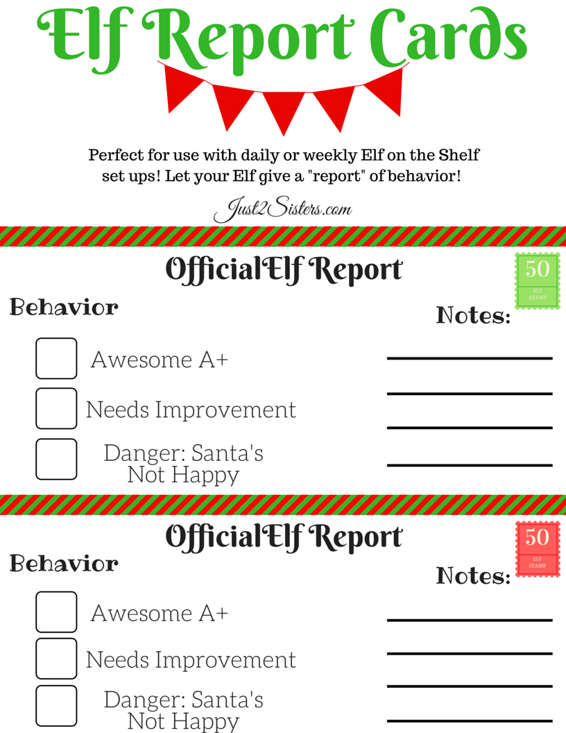 Elf on the Shelf Report Card Printable | Elves, Shelves and Holidays