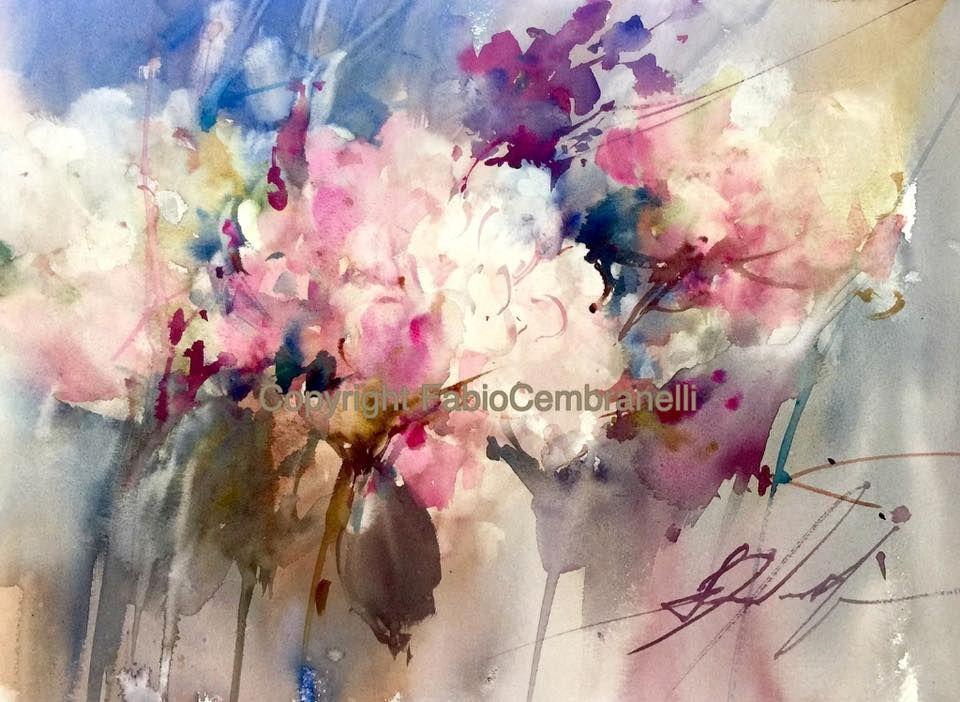 Fabio Cembranelli Watercolor Art Peinture Fleurs Aquarelle
