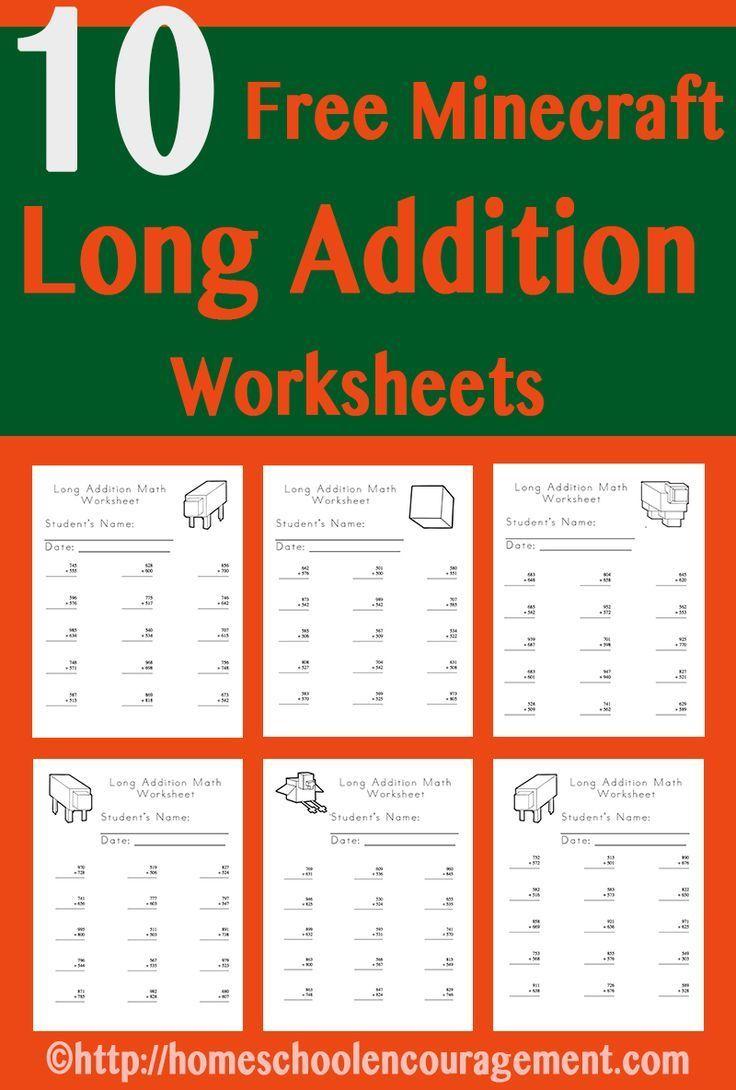 worksheet Homeschooling Worksheets free minecraft worksheets long addition homeschool addition