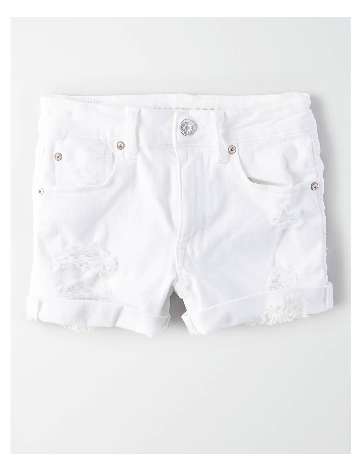 093d9df039 AE Ne(X)t Level High-Waisted Denim Short Short, White   American Eagle  Outfitters