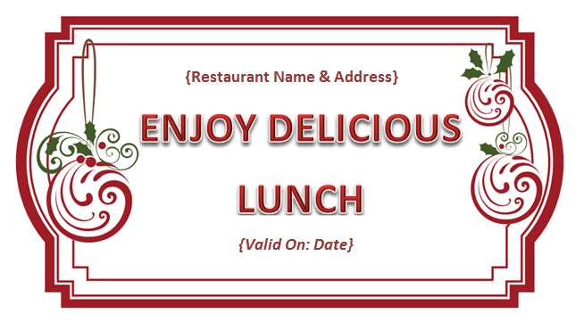 Lovely Free Lunch Coupon Template Photos - The Best Curriculum ...