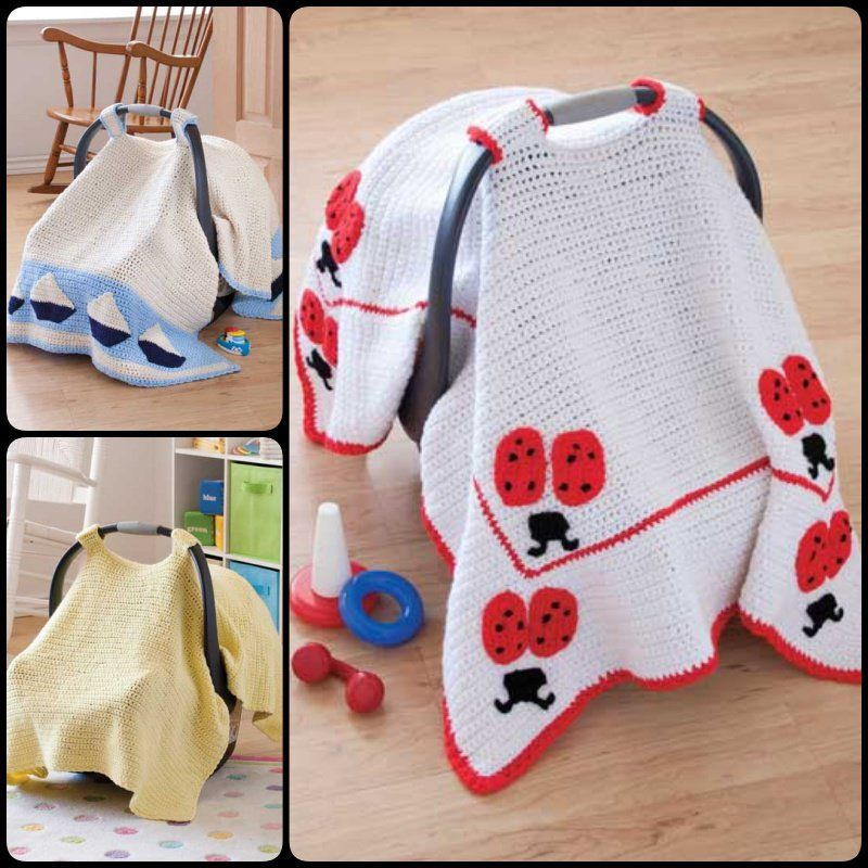 Crochet Baby Car Seat Cover with Pattern | Porta bebe, Tejidos para ...
