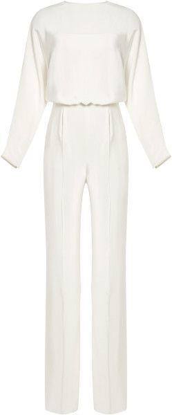 d1e090185d3 Valentino White Silkcrepe Splitback Jumpsuit