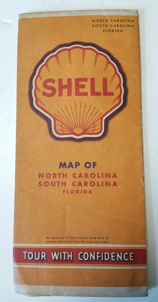 Vintage 1942 Shell Gas Highway Road Map