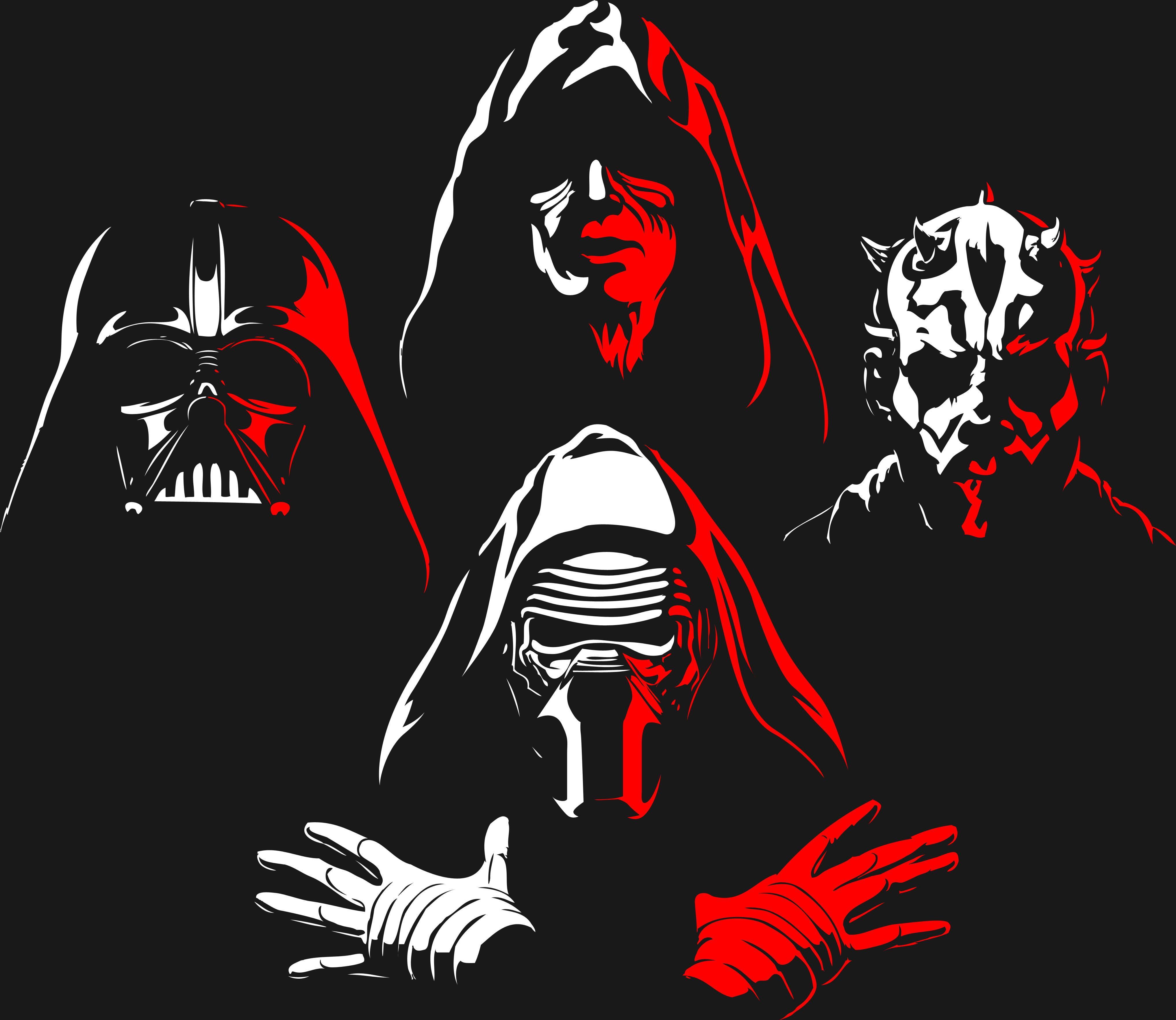 Star Wars Characters Illustration Red White Star Wars Darth Maul Darth Vader Kylo Ren 4k Wallpap Star Wars Wallpaper Darth Vader Wallpaper Star Wars Poster