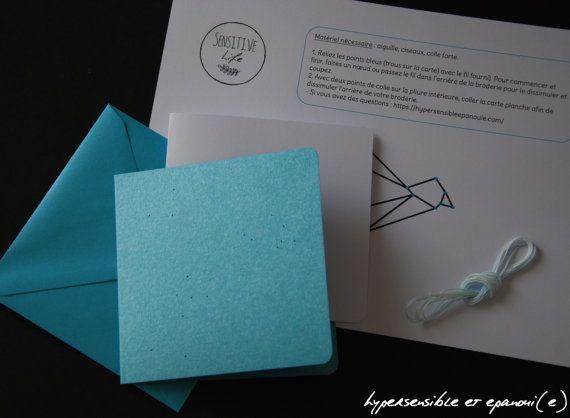 Photo of Articles similaires à Kit carte à broder oiseau origami – DIY – couleurs au choix sur Etsy