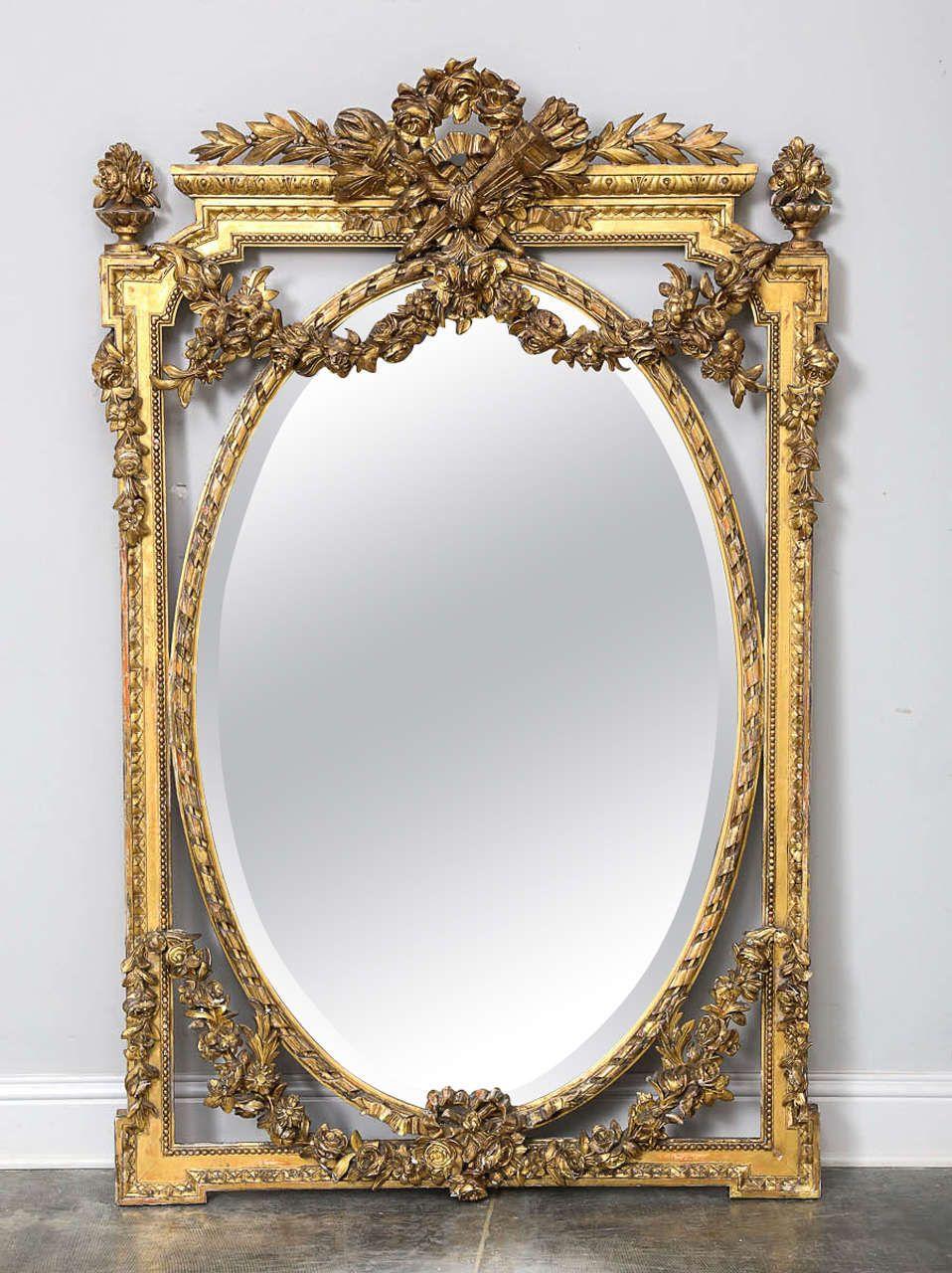 6eb442580f3a 19th Century Louis XVI Style Gold Gilt Mirror image 2