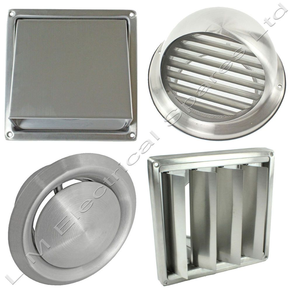 Stainless Steel Wall Air Vent Metal Cover Outlet Exhaust Grille 100 125 150mm Ebay Bathroom Exhaust Fan Cover Bathroom Exhaust Fan Light Bathroom Exhaust Fan