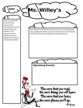 Dr. Seuss Theme Newsletter Template | Preschool News Letter ...