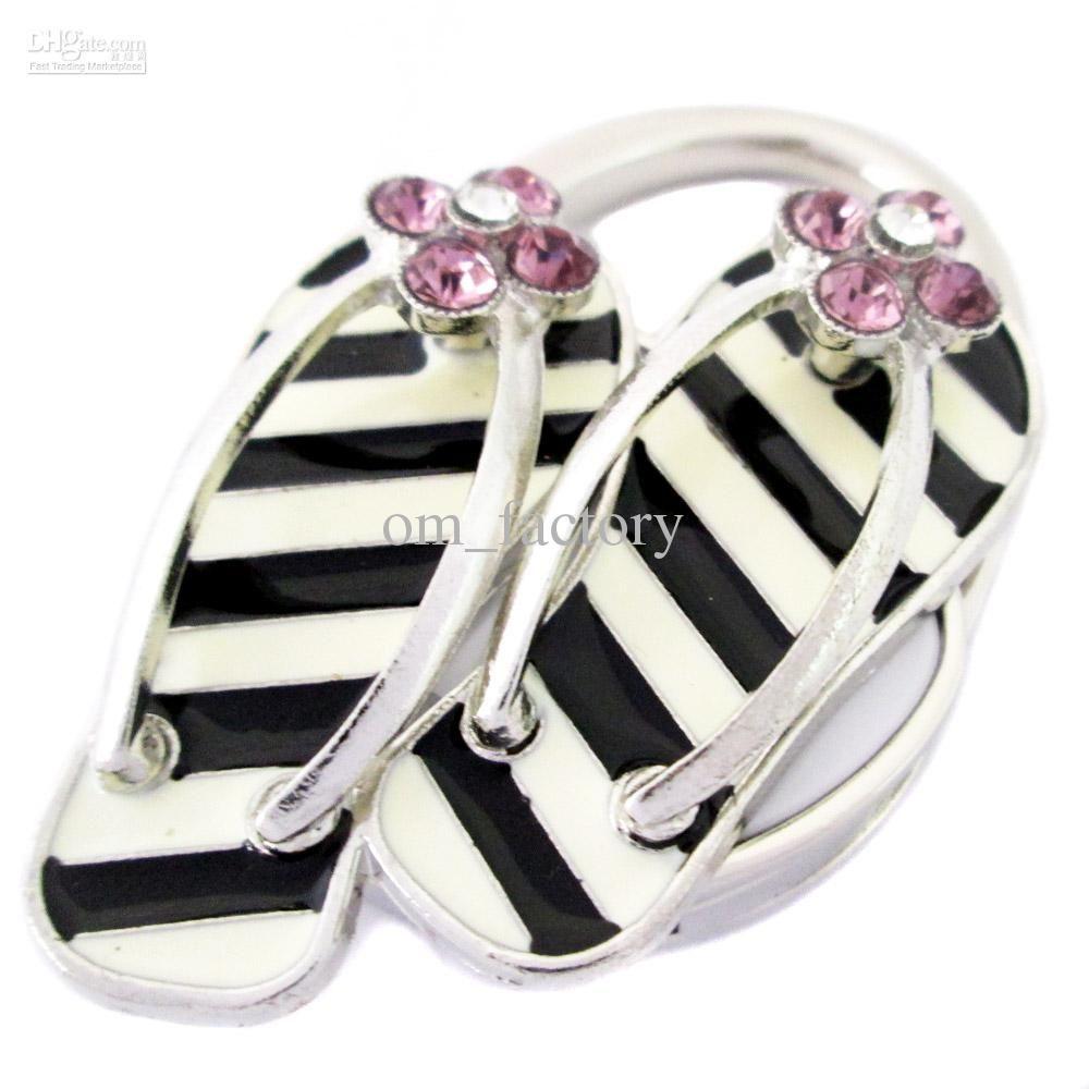 Delightful New Purse Handbag Table Hook Hanger Folding Foldup Holder  Shiny And  Special Black And White Shoe Design Crystal Embended