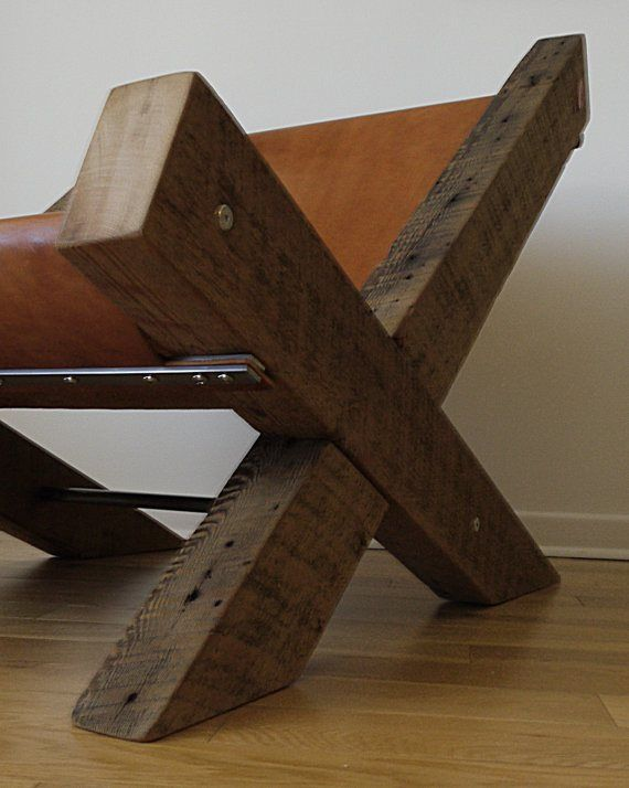 Reclaimed Wood And Leather Lounge Chair By Ticinodesign On Etsy