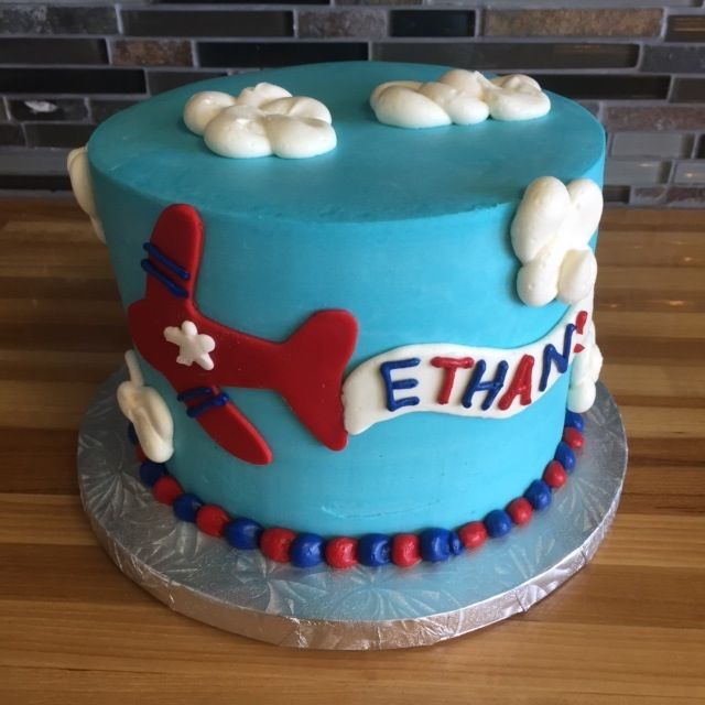 Birthday Boy Cake With Sky Blue Icing And Red Airplane Banner With