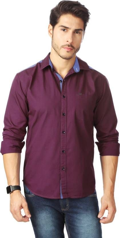 a4ffdbba Rodid Men's Solid Casual Wine Shirt #PurpleCollection | Men's ...