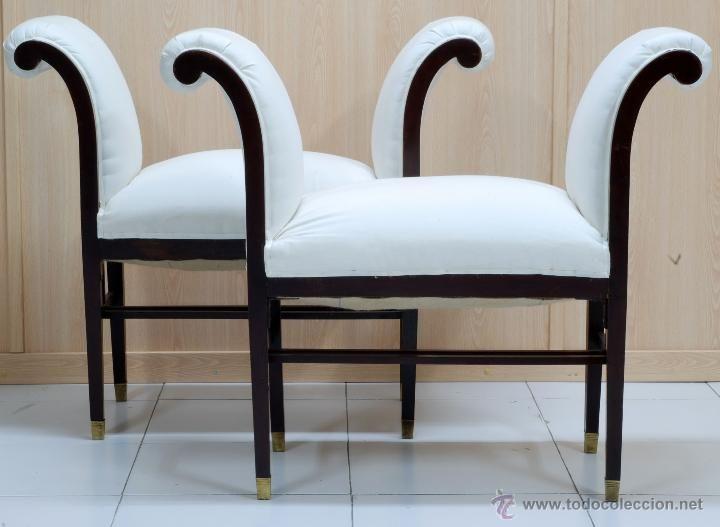 Pareja banquetas Art - Decó madera caoba tapizadas retor blanco años ...