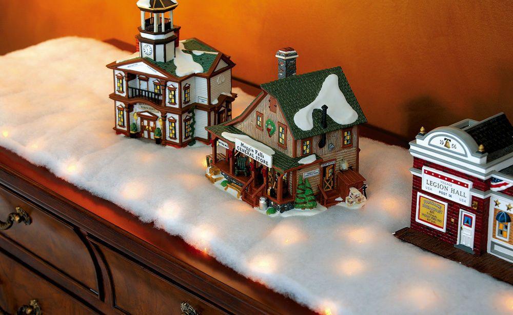 LED Snow Battery Operated Table Runner for Mantel Christmas Village Scene Decor #SMCS