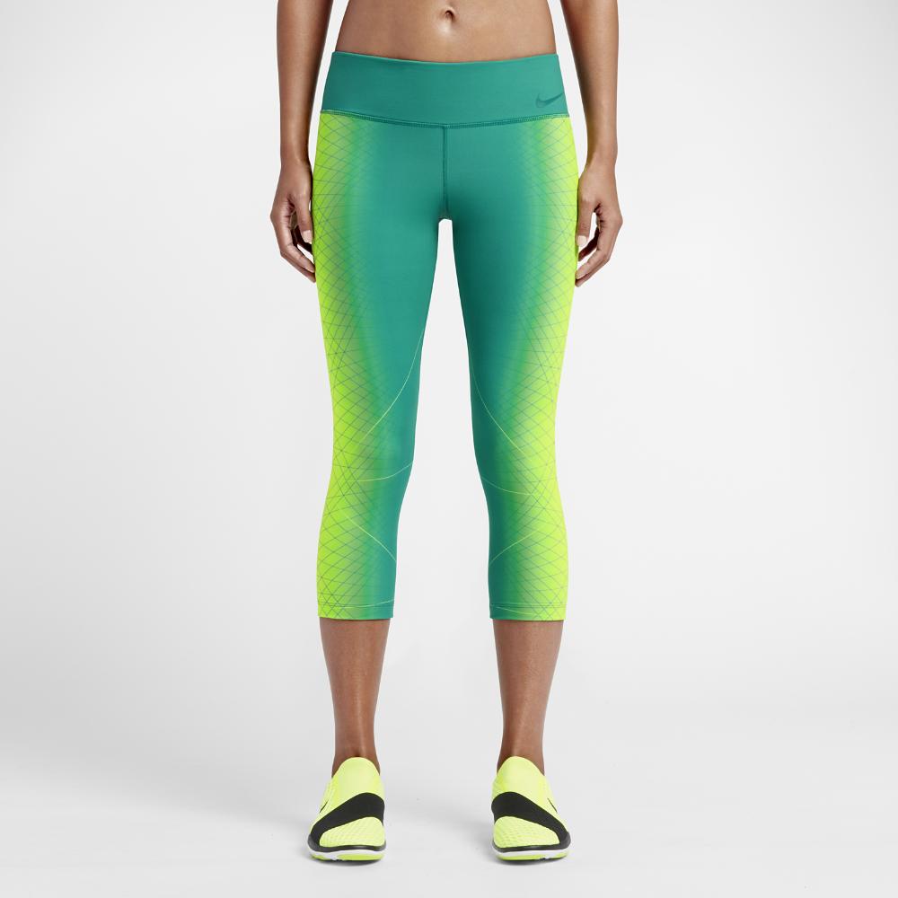 c290e59b62bc9 Nike Power Legendary Women's Printed Mid Rise Training Capri Pants Size XS  (Yellow) (Yoga Pants) - Clearance Sale