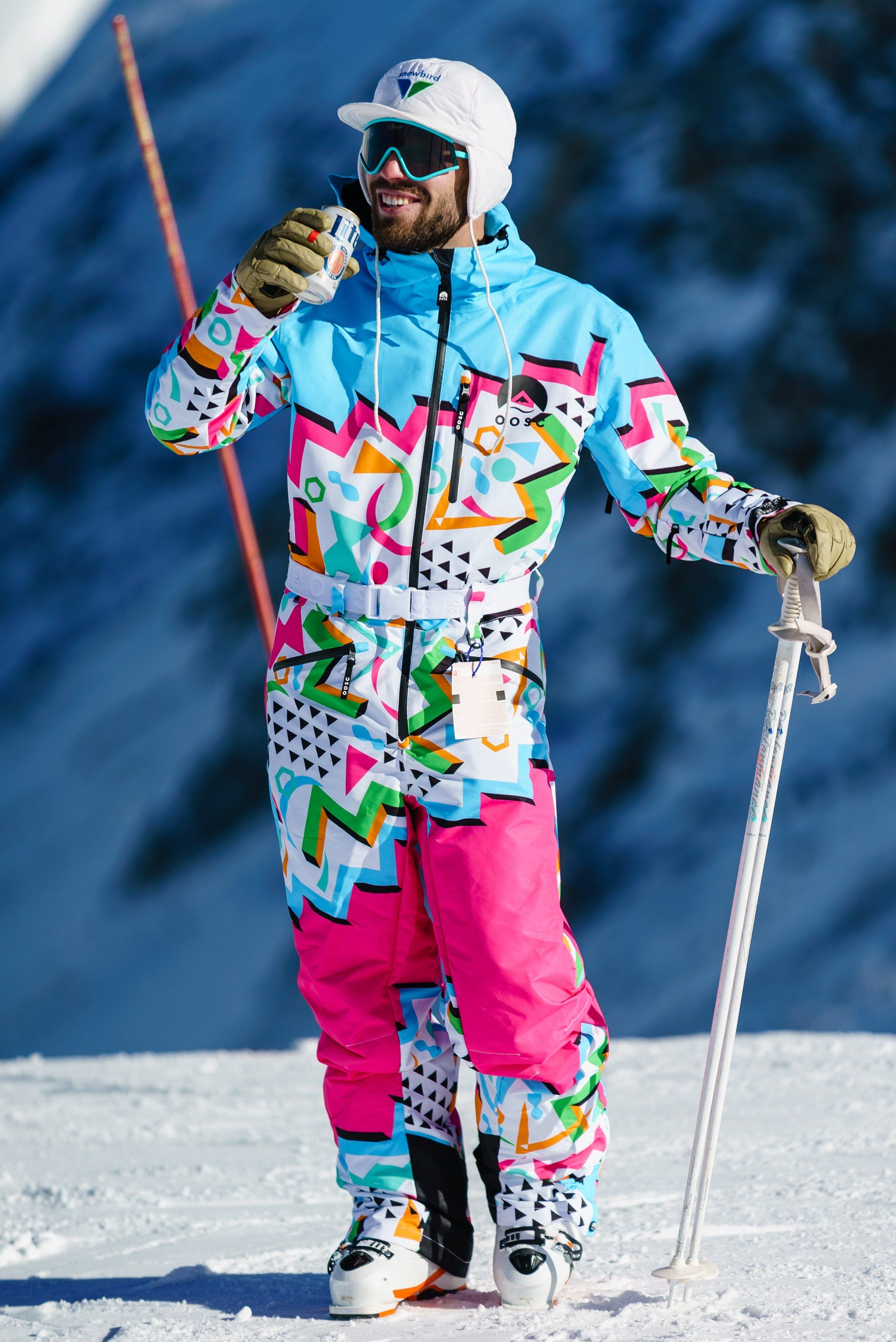 Shop The Geodisiac Men S Retro Print Ski Suit Made With 10k Waterproof Material To Keep You Warm On The Cold One Skiing Outfit Retro Ski Suit Mens Ski Clothes