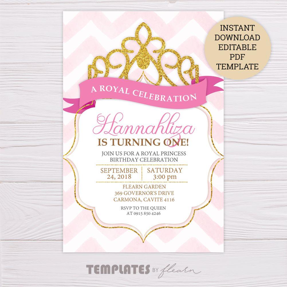 Royal Princess Invitation Template Princess Birthday