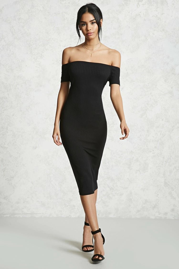 A Ribbed Knit Bodycon Dress Featuring An Elasticized Off The