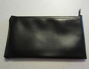 bank pouch   Black Vinyl Zipper Bank Bag Money Jewelry Pouch Coin Currency Wallet ...