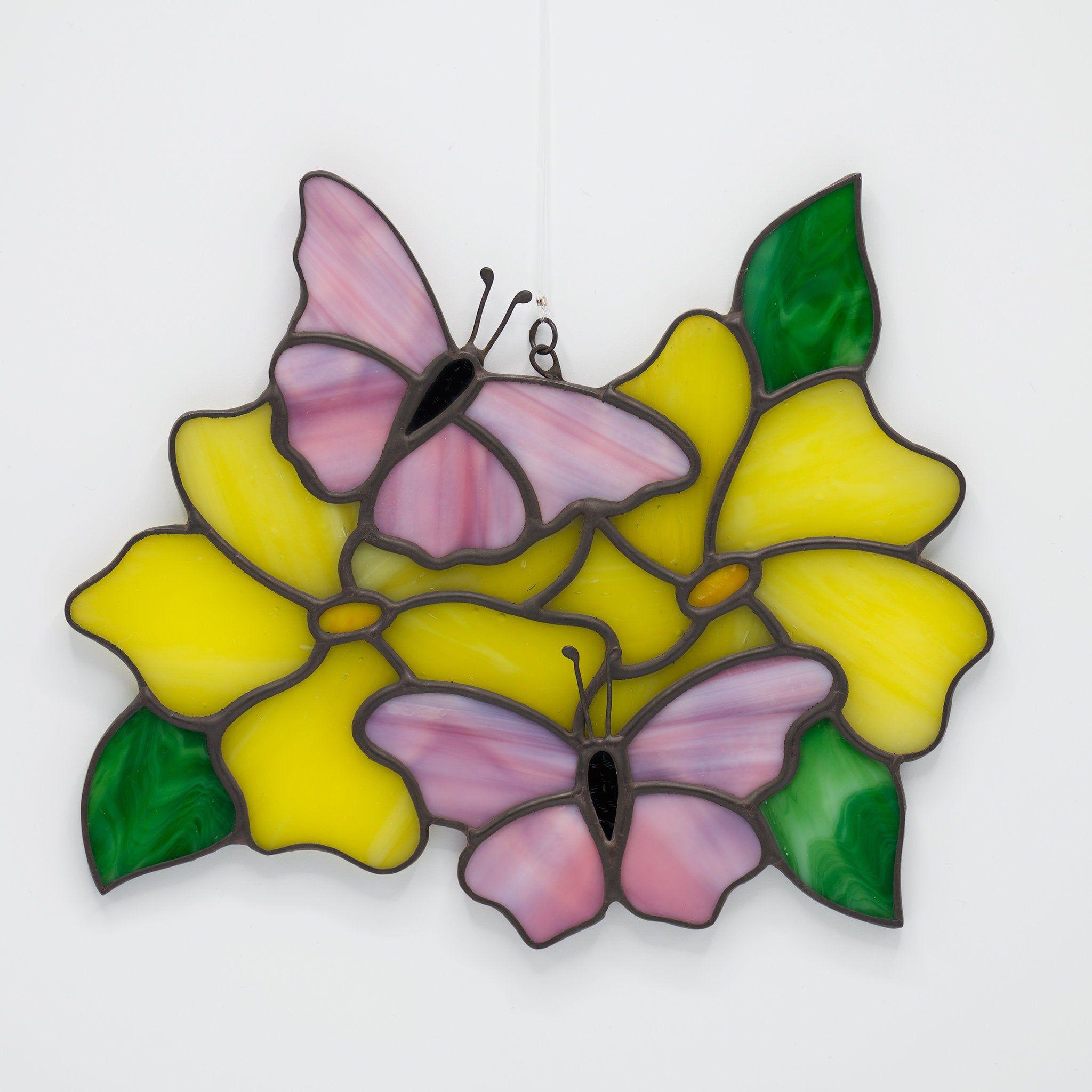 Handmade  Stained Glass Daisy Flower Suncatcher Dark Pink Glass Gift