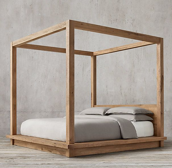 Reclaimed Russian Oak 4 Poster Canopy Bed Without Footboard