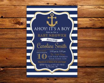 navy nautical baby shower invitation ahoy itu0027s