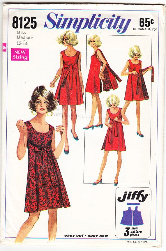 Vintage 1969 Simplicity 8125 Sewing Pattern Misses' Jiffy Reversible Dress Size 12-14 Bust 34-36