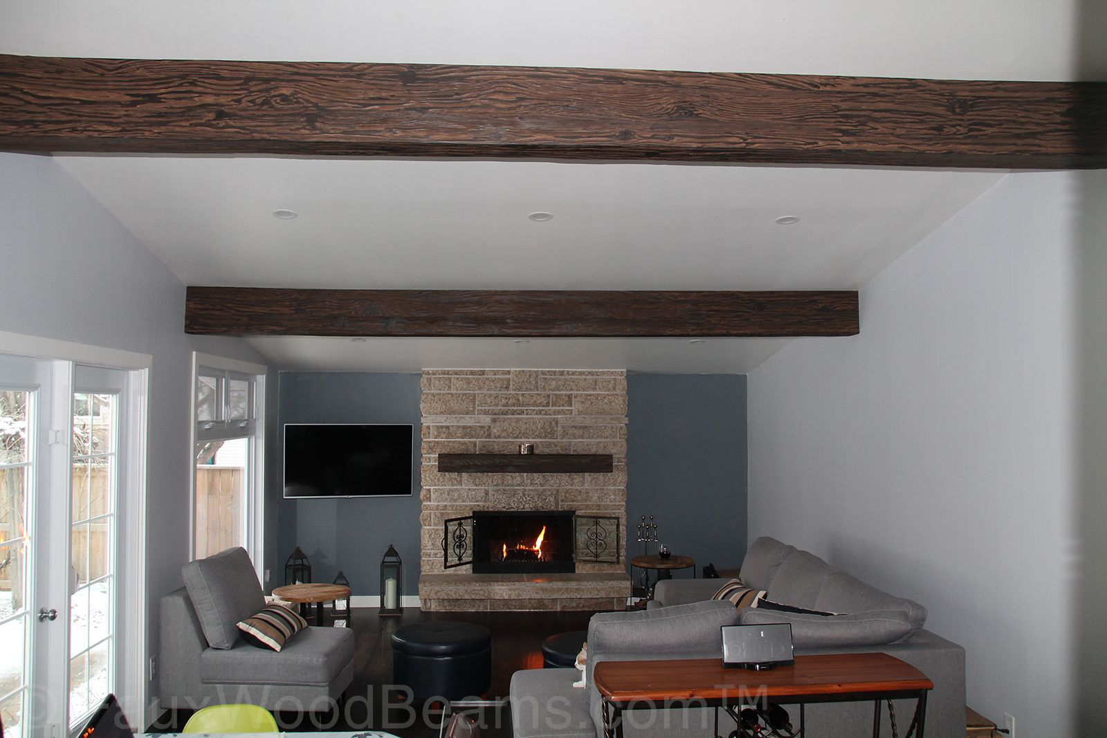 Match Your Mantel Beam With The Ceiling For The Complete