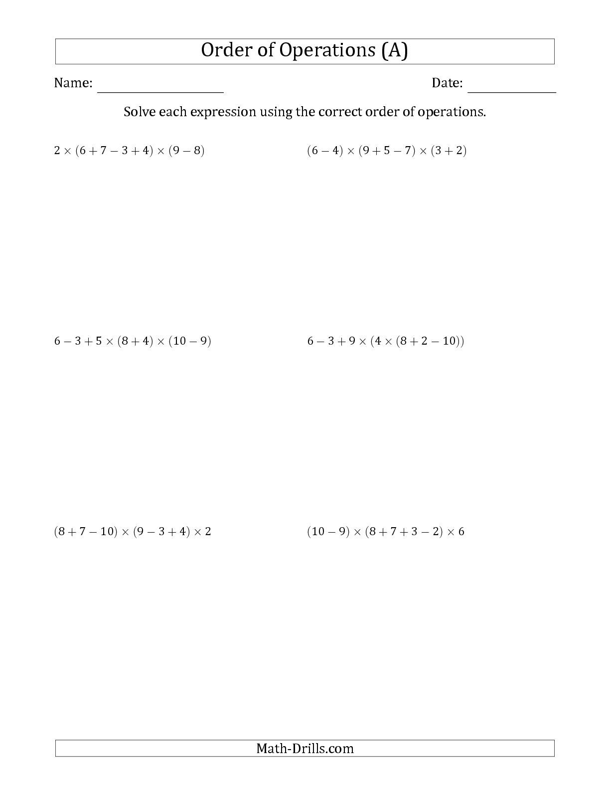 Improved The Order Of Operations With Whole Numbers