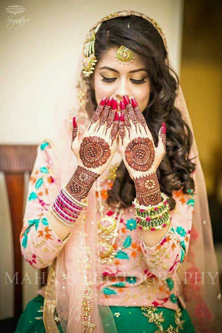 7f05320f34 Mehendi punjabi | Indian wedding makeup | Bridal henna designs ...
