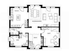 grundriss erdgeschoss modernes landhaus von haacke haus pinterest villas. Black Bedroom Furniture Sets. Home Design Ideas