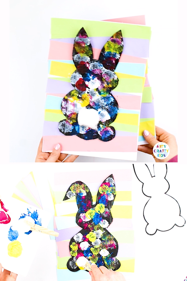Create an adorable Easter Bunny with cotton balls! With a choice of two printable Easter Bunny Templates, this a create craft idea to try this Spring or Easter with the kids #easter #eastercrafts #printable