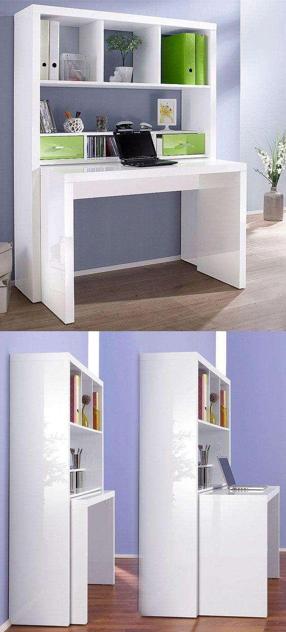 Praktisches Regal mit ausziehbarem Schreibtisch ♥ schlafzimmer - schreibtisch im schlafzimmer