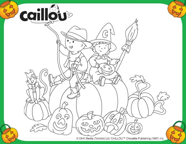 Caillou At The Pumpkin Patch Coloring Sheet Halloween Coloring Pages Halloween Coloring Coloring Books