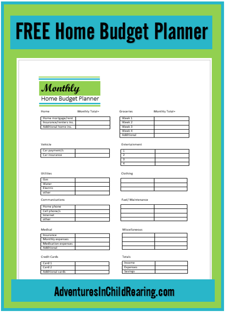 get family finances in order with this free home budget planner