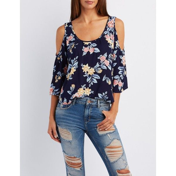 Charlotte Russe Floral Print Cold Shoulder Top ($19) ❤ liked on Polyvore featuring tops, navy combo, cold shoulder tops, cut out shoulder top, cut-out shoulder tops, charlotte russe and ruffle top