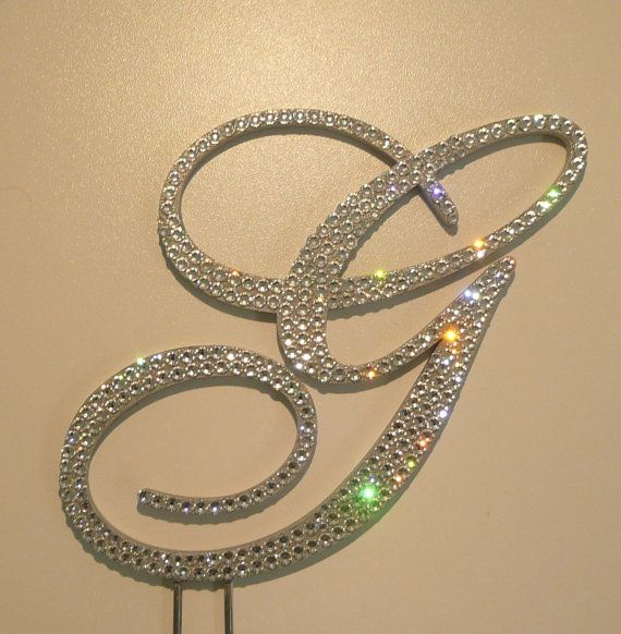 Sooooooo Gorgeous!!! Swarovski Crystal Monogram Wedding Cake Topper 5''  Any Letter by OCsparkles, $65.00