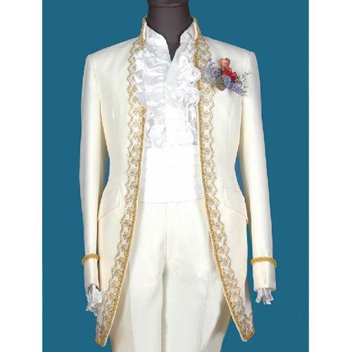 Custom Mens Ivory Victorian Fashion Wedding Prom Clothing Tux Tuxedo ...