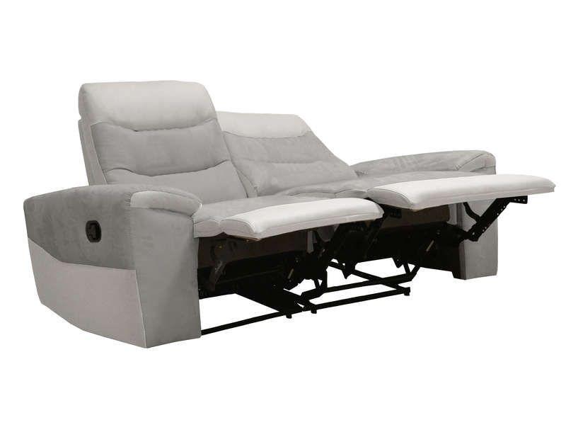 Canape Fixe Relaxation Manuel 2 Places En Tissu Foster Coloris Gris Et Blanc Vente De Canape Droit Conforama Avec Images Canape Fixe Canape Droit Canape
