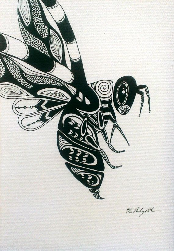 Bumble Bee Art Black And White Canvas Print Drawing Pen Ink Animal Illustration 5 X 7 Native American Geometric Design