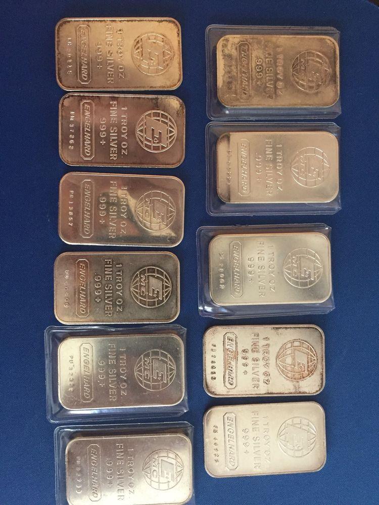Lot Of 11 1 Oz Fine Silver Engelhard Silver Bullion Fine Silver Silver
