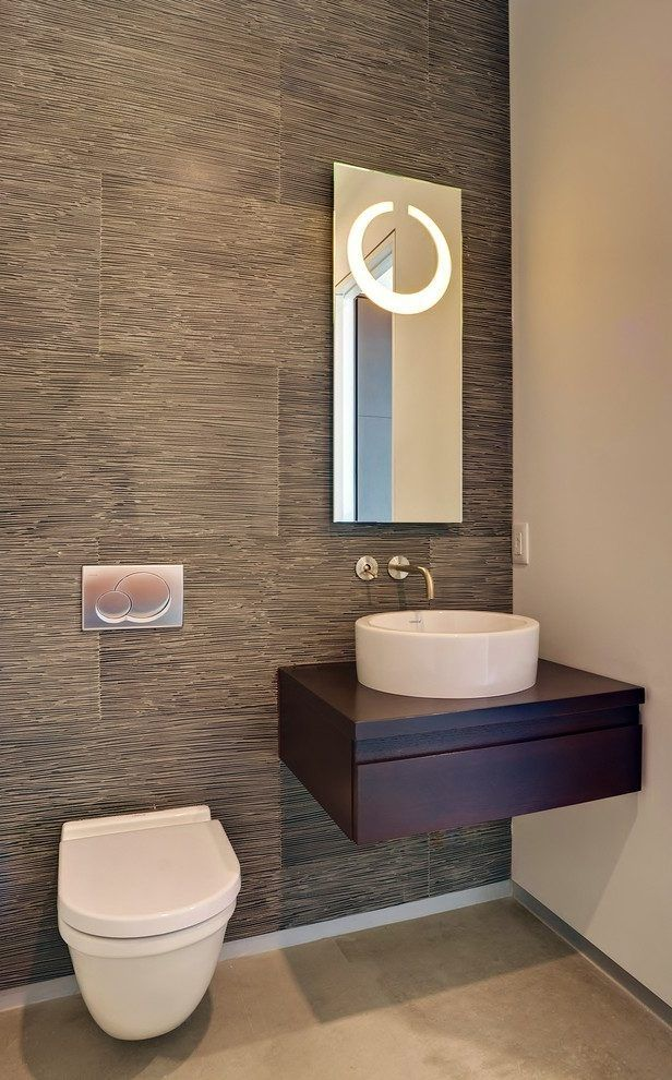 Tile Behind Toilet Powder Room Contemporary With Wall
