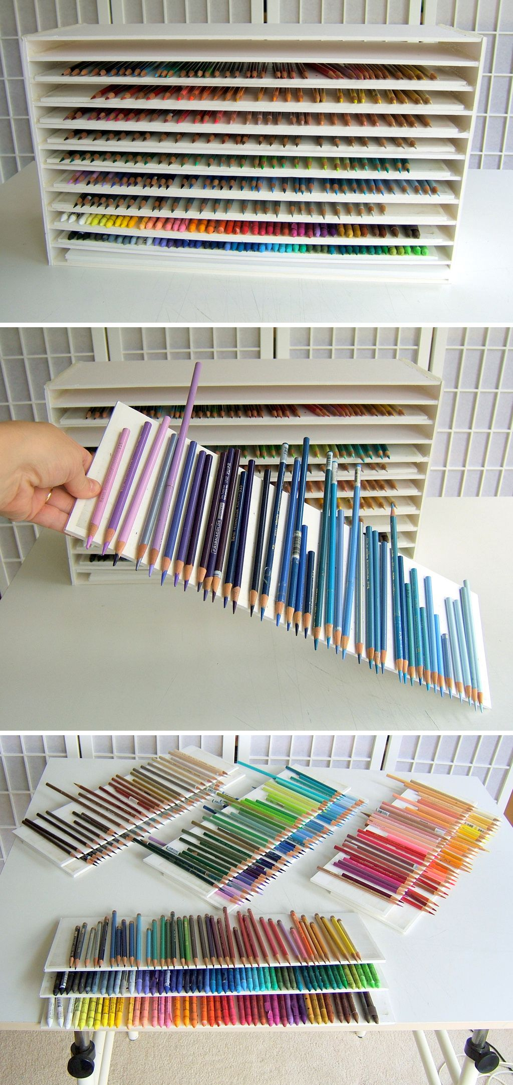 Pencil Storage Unit Made From Foam Board By Artist Ester Roi