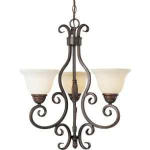 Illumine 3 Light 24 In Oil Rubbed Bronze Mini Chandelier With Frosted Ivory Glass
