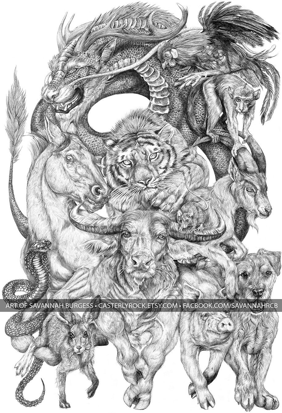 622dc2860 19-Year-Old Artist Spent All Summer Creating This Massive Chinese Zodiac  Drawing - click to see her process!