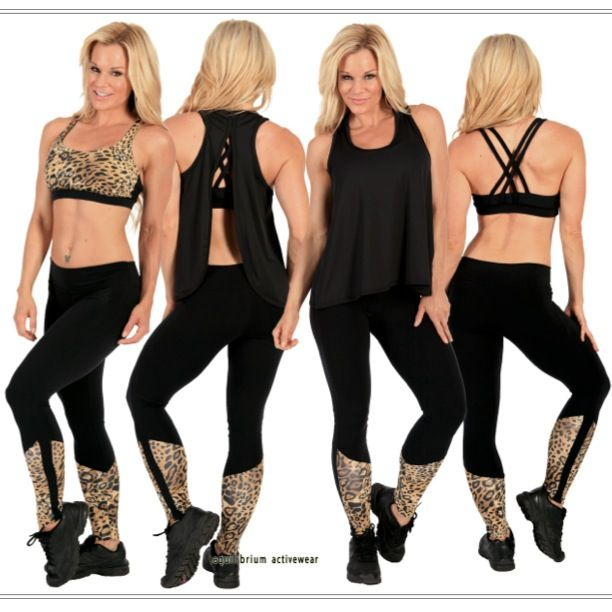 Whether you want to go all out or just add a hint of fashion, we've got just the look for you!  Black with cheetah print leggings and bra top L721 and T410, and black over shirt LT1012 - get them now at  equilibriumactivewear.com and rave up your next workout. #fitness #fashion #animalprint #activewear #gym