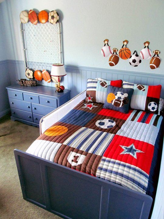 A Red Blue Big Boy Sports Room In 2020 Sports Themed Room